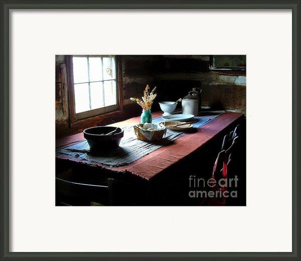 Old Cabin Table Framed Print By Julie Dant