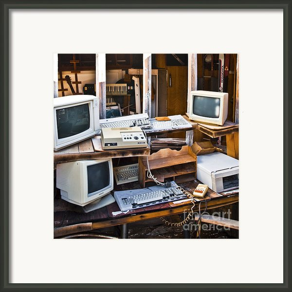 Old Computers In Storage Framed Print By Eddy Joaquim