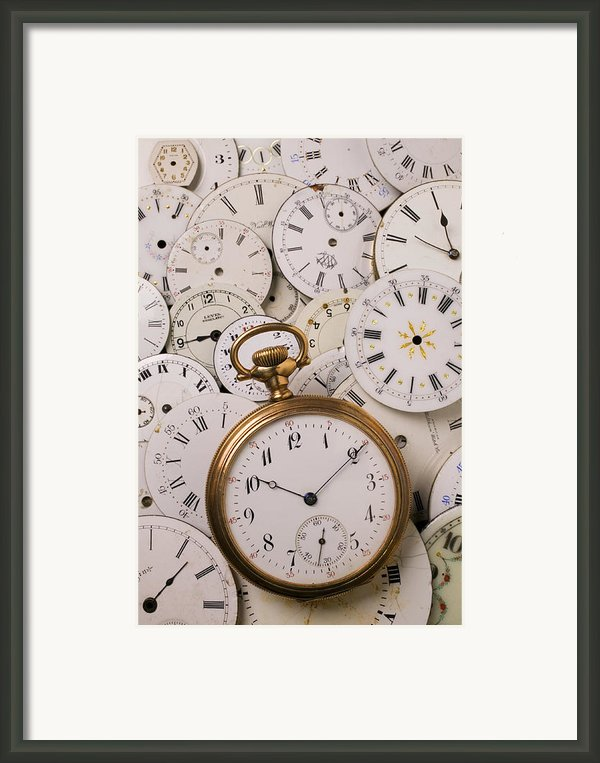 Old Pocket Watch On Dail Faces Framed Print By Garry Gay