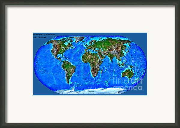 Physical Map Of The World Framed Print By Teodora Atanasova