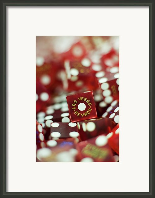 Pile Of Dice At A Casino, Las Vegas, Nevada Framed Print By Christian Thomas