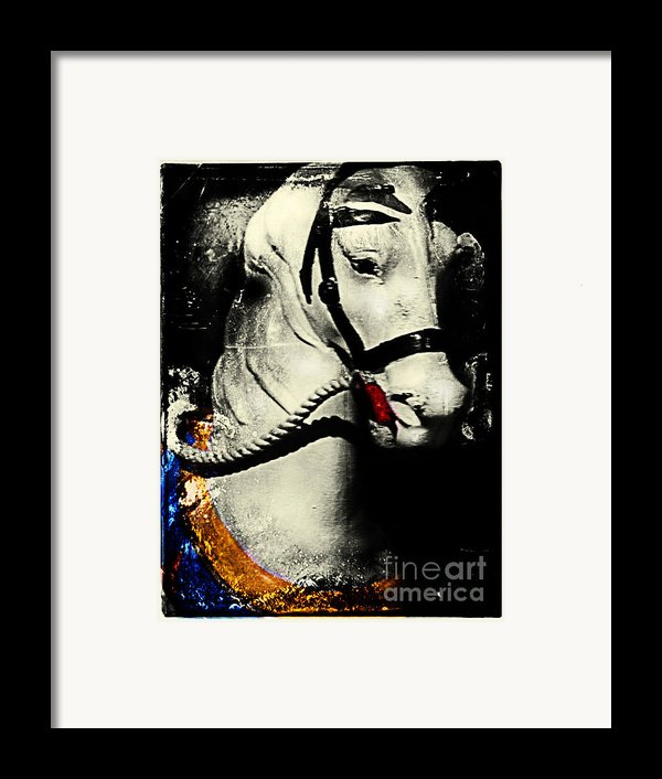 Portrait Of A Carousel Pony Framed Print By Colleen Kammerer