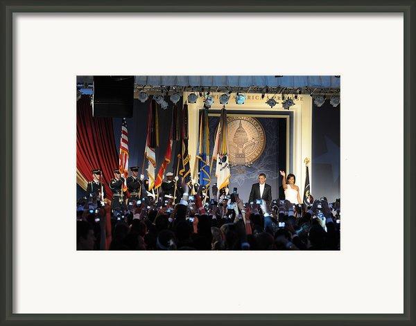 President And Michelle Obama Arrive Framed Print By Everett