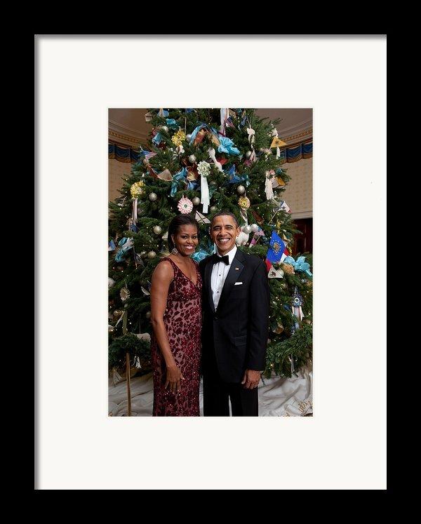 President And Michelle Obama Pose Framed Print By Everett
