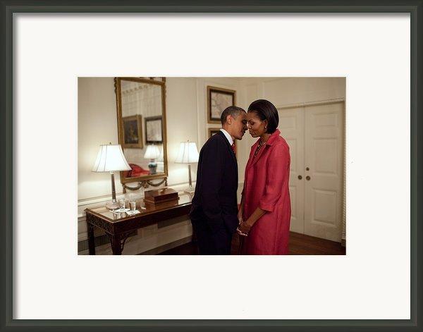 President And Michelle Obama Wait Framed Print By Everett