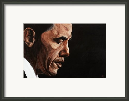 President Barack Obama Portrait Framed Print By Patty Vicknair
