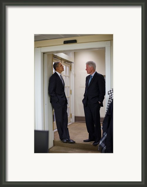 President Obama Talks With Former Framed Print By Everett