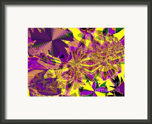 Purple Flowers On Yellow Framed Print By Navo Art