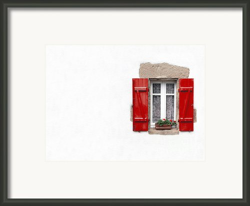 Red Shuttered Window On White Framed Print By Jane Rix