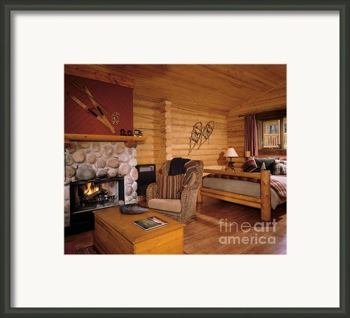 Resort Log Cabin Interior Framed Print By Robert Pisano