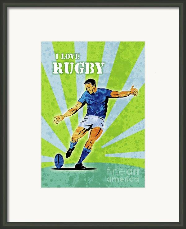 Rugby Player Kicking The Ball Framed Print By Aloysius Patrimonio