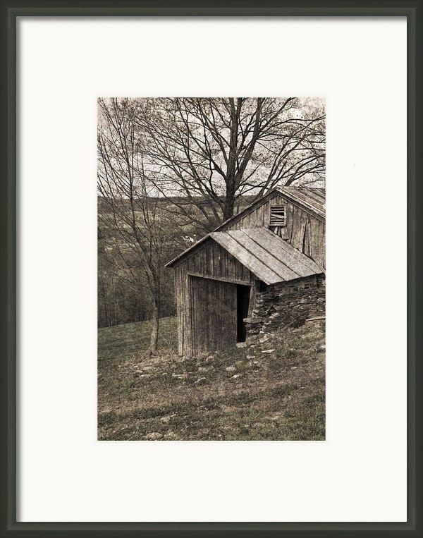 Rustic Hillside Barn Pasture Framed Print By John Stephens