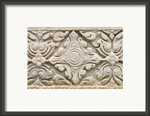Sandstone Carving  Framed Print By Kanoksak Detboon