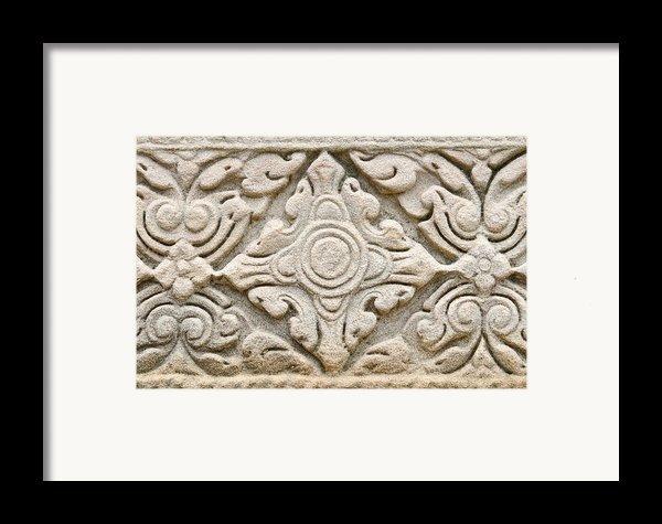 Sandstone Carving  Framed Print By Kanoksak Detboon