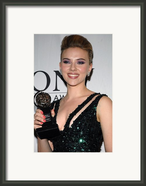 Scarlett Johansson In The Press Room Framed Print By Everett