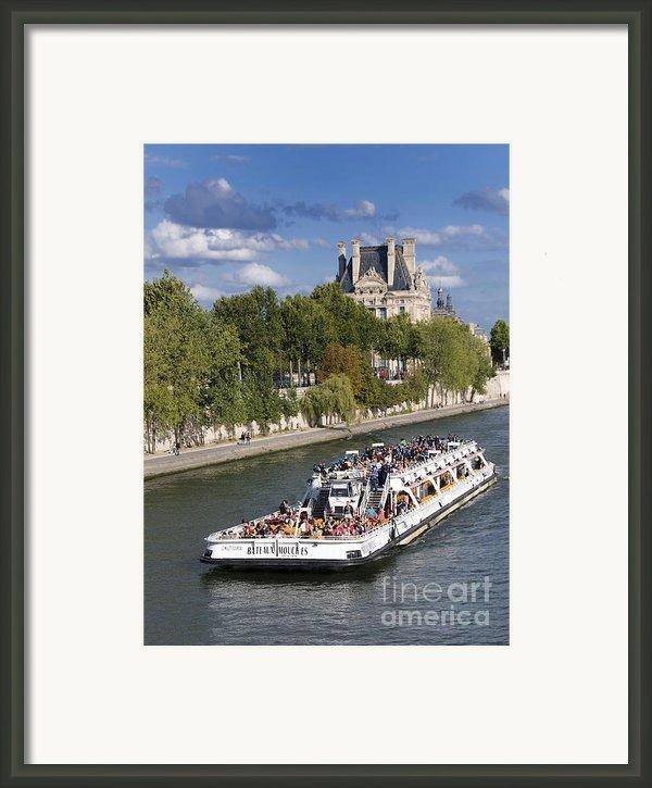 Sightseeing Boat On River Seine To Louvre Museum. Paris Framed Print By Bernard Jaubert