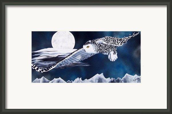 Snowy Flight Framed Print By Debbie Lafrance