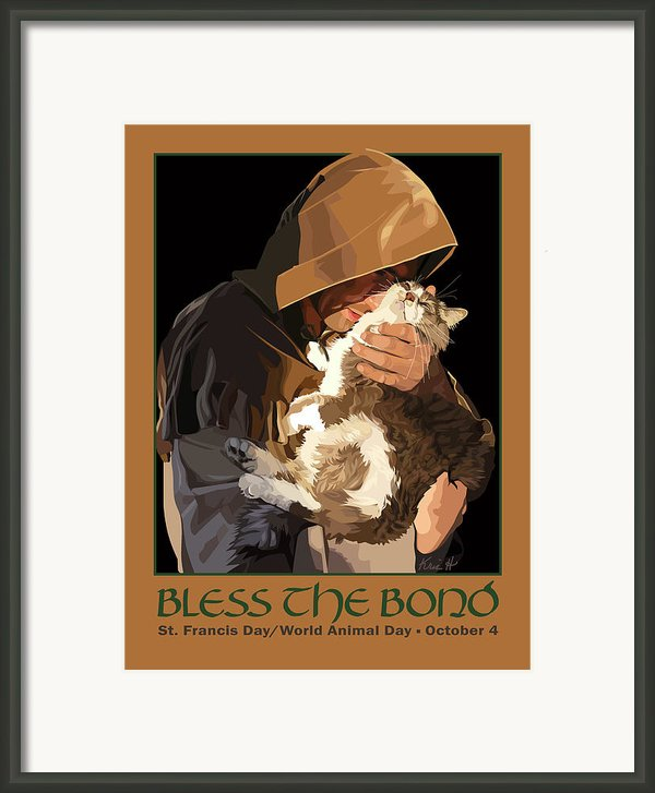 St. Francis With Cat Framed Print By Kris Hackleman