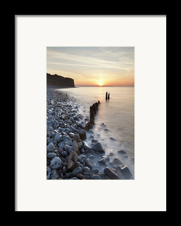 Sunset At The Remains Of Lilstock Pier Framed Print By Nick Cable
