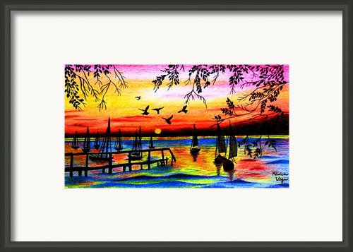 Sunset Framed Print By Monica  Vega