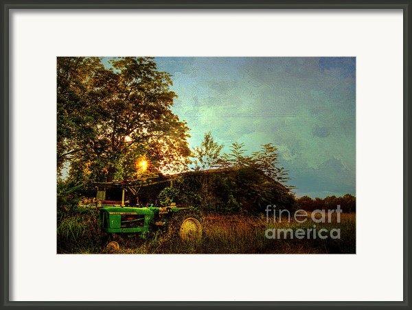 Sunset On Tractor Framed Print By Benanne Stiens