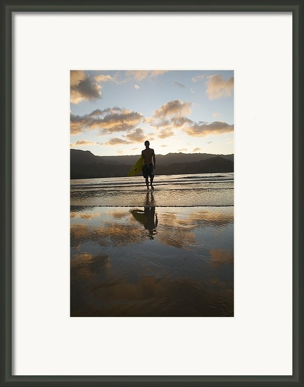 Sunset Surfer Framed Print By Kicka Witte - Printscapes