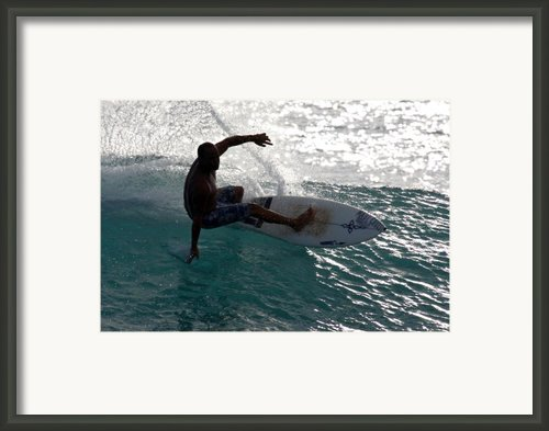 Surfer Surfing The Blue Waves At Dumps Maui Hawaii Framed Print By Pierre Leclerc