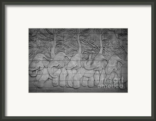 Thai Style Handcraft Of Elephant Framed Print By Phalakon Jaisangat