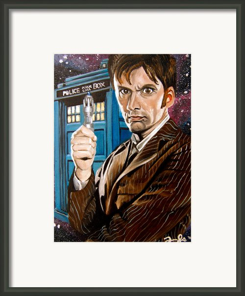 The Tenth Doctor And His Tardis Framed Print By Emily Jones