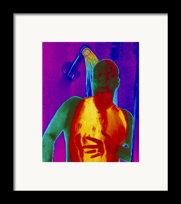 Thermogram Of A Man Taking A Shower Framed Print By Dr. Arthur Tucker