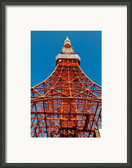 Tokyo Tower Faces Blue Sky Framed Print By Ulrich Schade