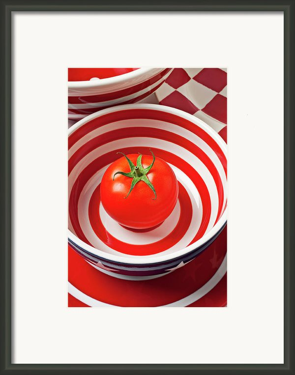 Tomato In Red And White Bowl Framed Print By Garry Gay