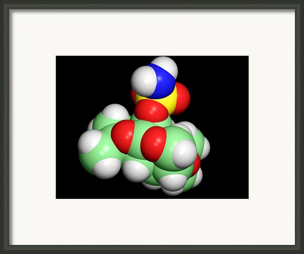 Topiramate Molecule, Anti-epilepsy Drug Framed Print By Dr Tim Evans