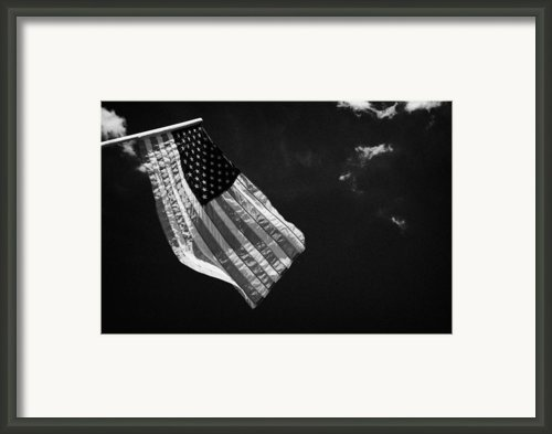 Us American Flag On Flagpole Against Blue Cloudy Sky Usa Framed Print By Joe Fox