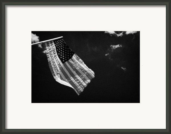 Us American Flag On Flagpole Against Blue Cloudy Sky Usa Framed Print By Joe Fox