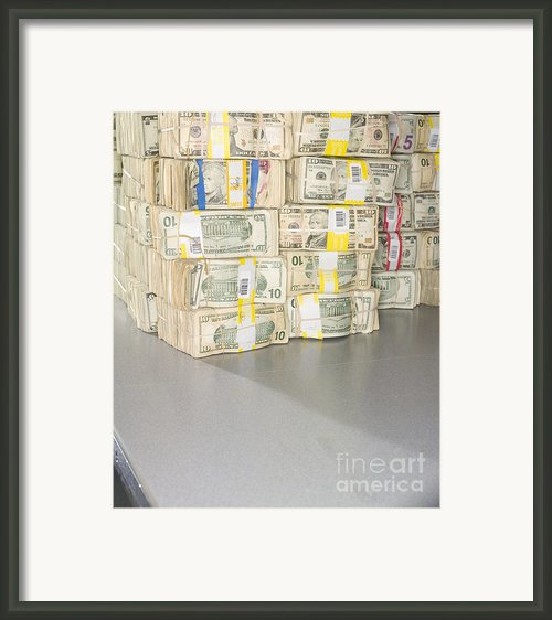 Us Bills In Bundles Framed Print By Adam Crowley