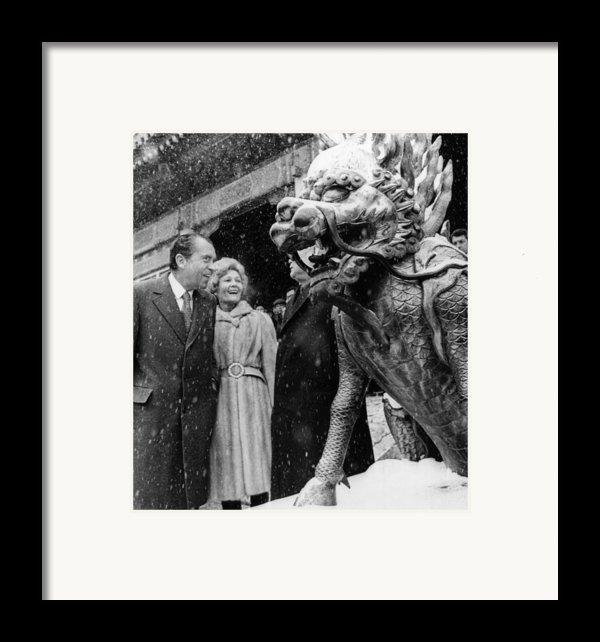 U.s. President Richard Nixon And First Framed Print By Everett