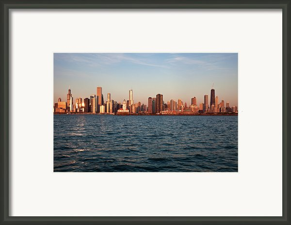 Usa, Illinois, Chicago, City Skyline Over Lake Michigan Framed Print By Henryk Sadura