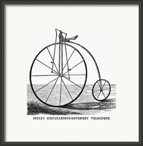 Velocipede, 1869 Framed Print By Granger
