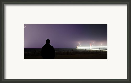 Watching A Lightning Storm Framed Print By Jeramie Curtice