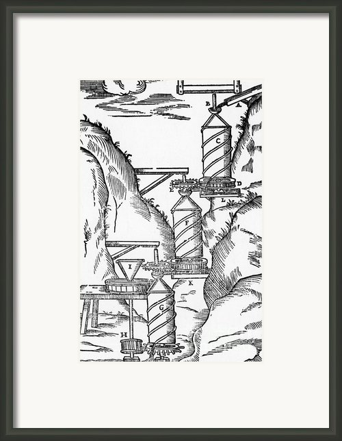 Watermill, Reversed Archimedean Screw Framed Print By Science Source