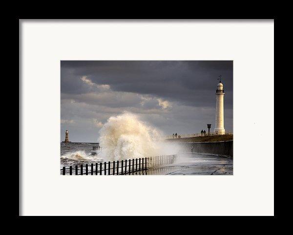 Waves Crashing, Sunderland, Tyne And Framed Print By John Short