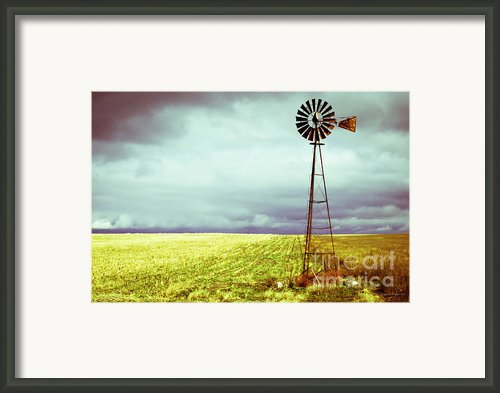 Windmill Against Autumn Sky Framed Print By Gordon Wood