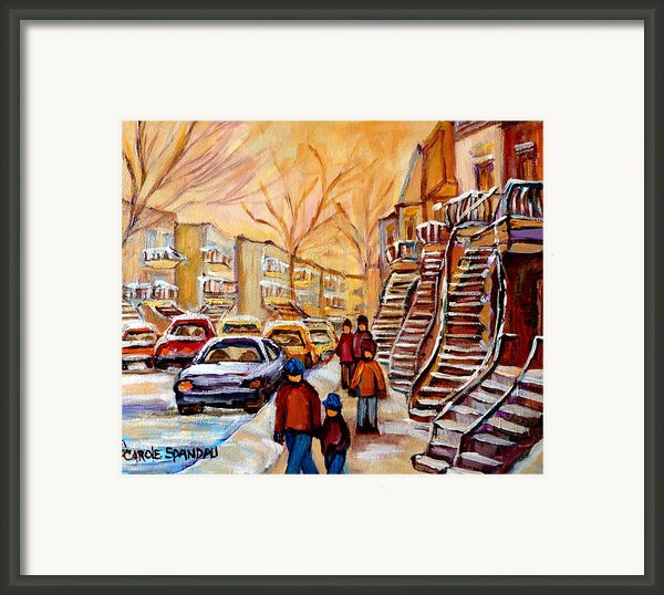Winter Walk In Montreal Framed Print By Carole Spandau