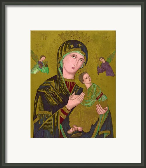 Woodcut Of The Virgin Mary, Titled S Framed Print By Everett