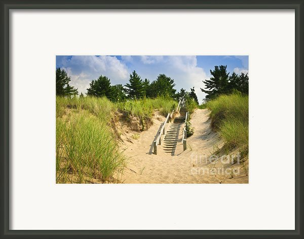 Wooden Stairs Over Dunes At Beach Framed Print By Elena Elisseeva