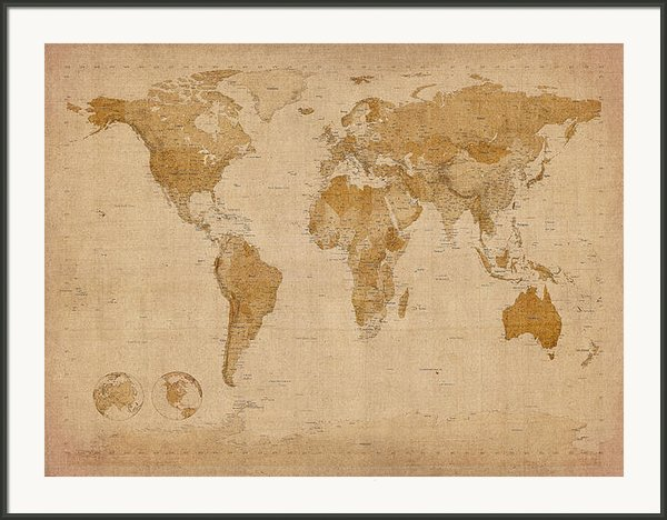 World Map Antique Style Framed Print By Michael Tompsett