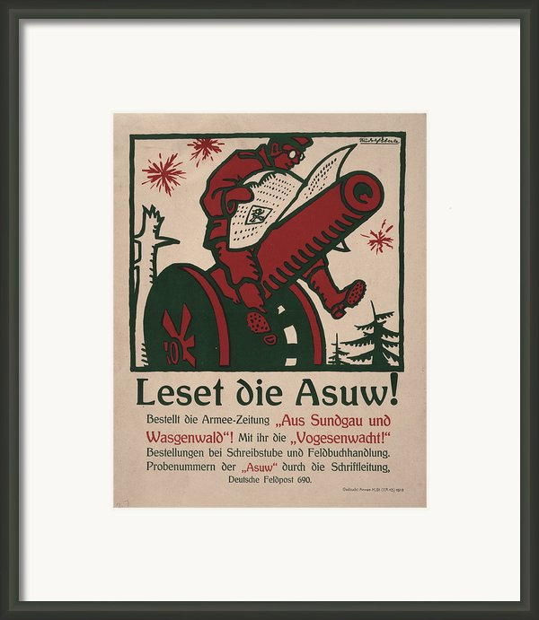 World War I, German Poster Shows Framed Print By Everett
