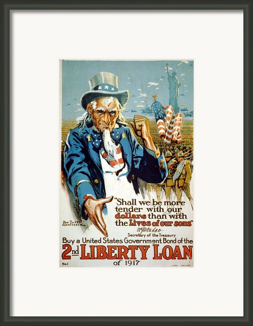 World War I, Poster Showing Uncle Sam Framed Print By Everett