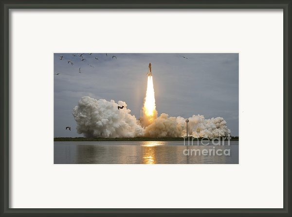 Space Shuttle Atlantis Lifts Framed Print By Stocktrek Images